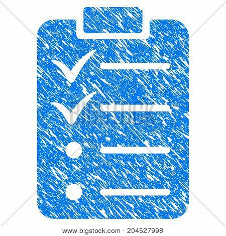 Grunge Todo List icon with grunge design and unclean texture. Unclean vector blue pictogram for rubber seal stamp imitations and watermarks. Draft emblem symbol.