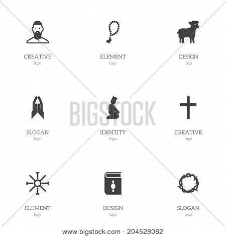 Set Of 9 Editable Faith Icons. Includes Symbols Such As Sun Symbol, Sacrifice Sheep, Pray And More