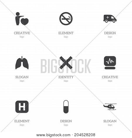 Set Of 9 Editable Care Icons. Includes Symbols Such As Respiratory Organ, Clinic, Medical Aviation And More