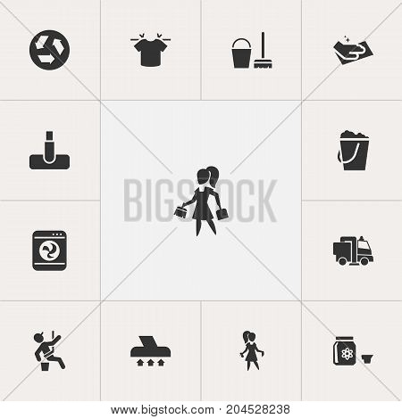 Set Of 13 Editable Cleaning Icons. Includes Symbols Such As Towel, Hazard, Housework And More