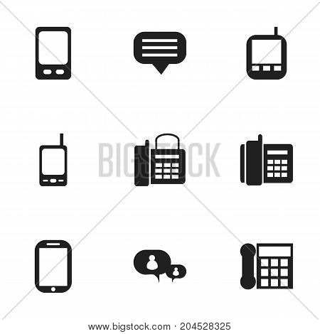 Set Of 9 Editable Gadget Icons. Includes Symbols Such As Transceiver, Tablet, Calling Device And More
