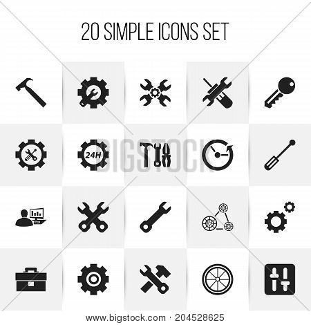 Set Of 20 Editable Toolkit Icons. Includes Symbols Such As Mechanic Cogs, Handle Hit, Wrench