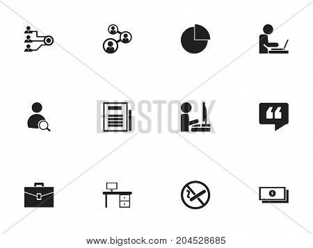 Set Of 12 Editable Bureau Icons. Includes Symbols Such As Comment, Worker In Laptop, Page And More