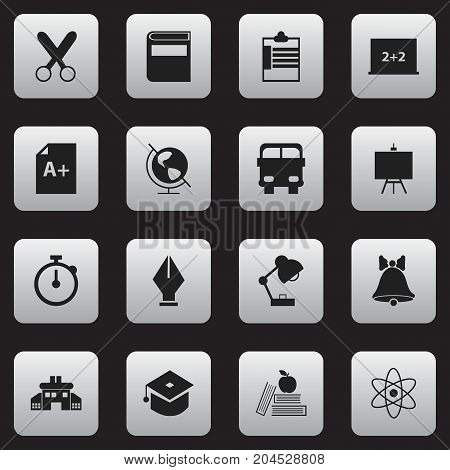 Set Of 16 Editable School Icons. Includes Symbols Such As Literature, Timer, Writing Board And More