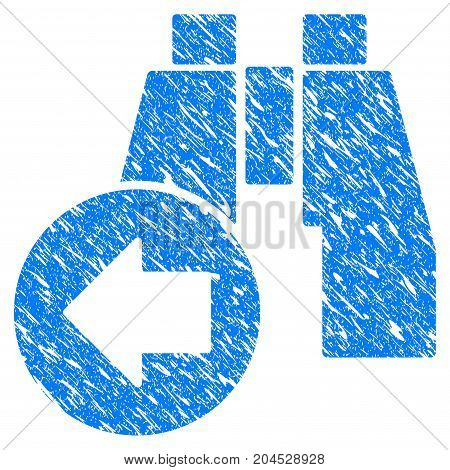 Grunge Find Previous Binoculars icon with grunge design and unclean texture. Unclean vector blue pictogram for rubber seal stamp imitations and watermarks. Draft sign symbol.