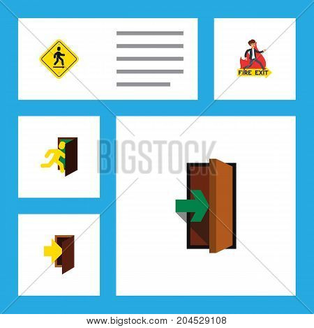 Flat Icon Exit Set Of Entry, Direction Pointer, Open Door And Other Vector Objects