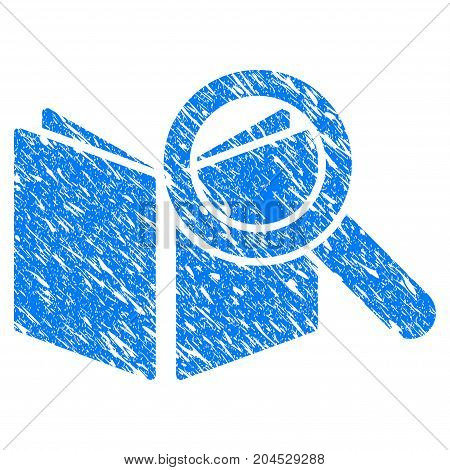 Grunge Search Book icon with grunge design and dirty texture. Unclean vector blue pictogram for rubber seal stamp imitations and watermarks. Draft sticker symbol.