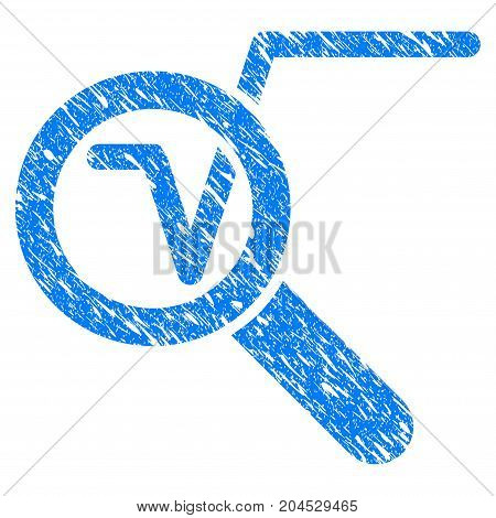 Grunge Search Math Solution icon with grunge design and scratched texture. Unclean vector blue pictogram for rubber seal stamp imitations and watermarks. Draft sticker symbol.