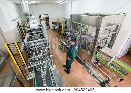 Brest, Belarus - July 05, 2017: Brest Distillery Packaging shop for finished products