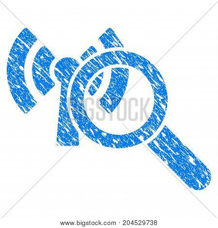 Grunge Search Wi-Fi Network icon with grunge design and dirty texture. Unclean vector blue pictogram for rubber seal stamp imitations and watermarks. Draft sticker symbol.