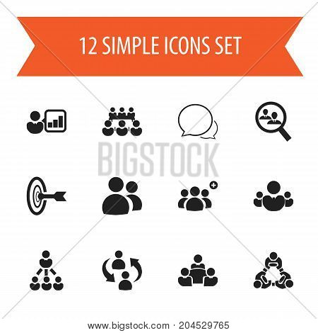 Set Of 12 Editable Business Icons. Includes Symbols Such As Friendship, Unity, Corporate And More