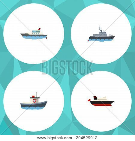 Flat Icon Ship Set Of Sailboat, Ship, Transport And Other Vector Objects