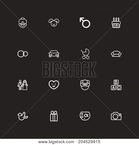 Set Of 16 Editable Folks Outline Icons. Includes Symbols Such As Photo Device, Pie, Present And More
