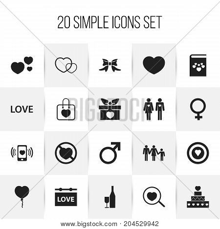 Set Of 20 Editable Love Icons. Includes Symbols Such As Woman Symbol, Smartphone, Loupe And More