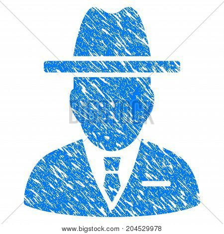 Grunge Spy Person icon with grunge design and scratched texture. Unclean vector blue pictogram for rubber seal stamp imitations and watermarks. Draft sign symbol.