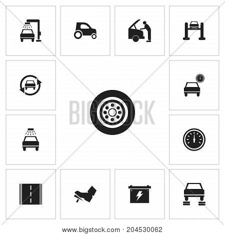 Set Of 13 Editable Car Icons. Includes Symbols Such As Mechanic, Repair, Transport Clean And More