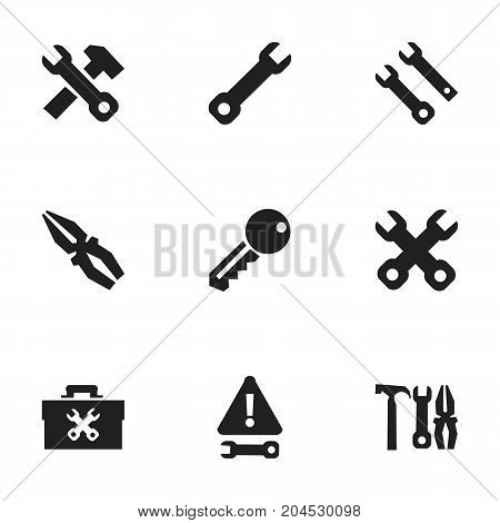Set Of 9 Editable Tool Icons. Includes Symbols Such As Access, Warning, Wrench And More