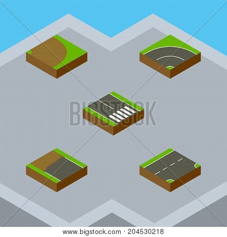 Isometric Road Set Of Pedestrian, Rotation, Down And Other Vector Objects