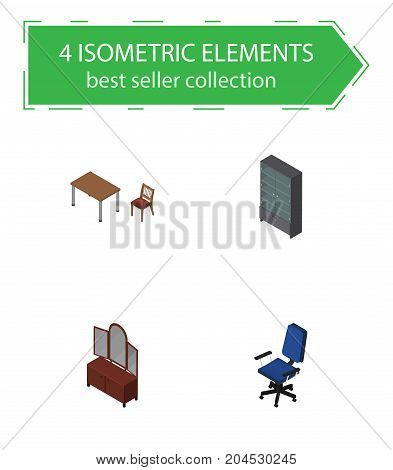 Isometric Furniture Set Of Office, Drawer, Chair And Other Vector Objects