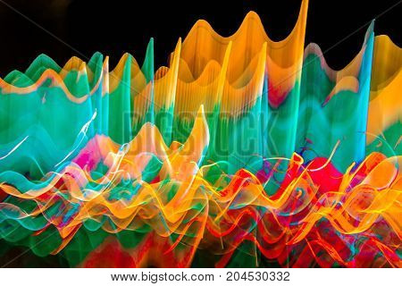 Wavy color abstract light pattern in motion.