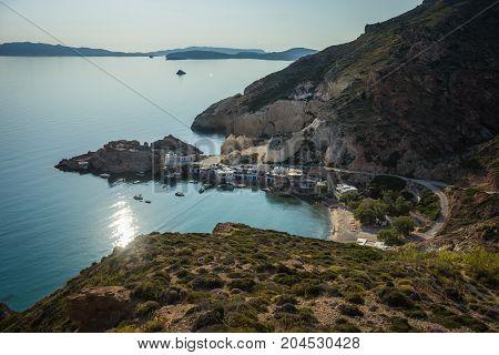 Seascape With White Church At Mantrakia On Milos Island, Greece