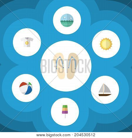 Flat Icon Season Set Of Clothes, Sphere, Beach Sandals Vector Objects