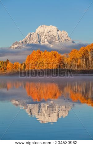 a scenic autumn landscape reflection in the Tetons