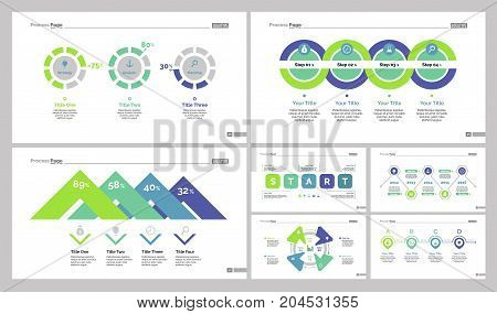Infographic design set can be used for workflow layout, diagram, annual report, web design. Business and marketing concept with cycle slide temple, percentage and organizational chart