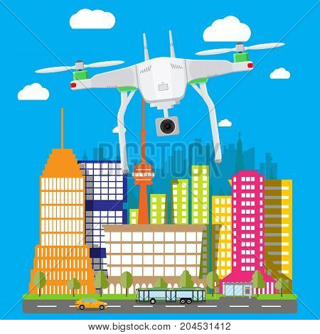 Remote controlled aerial drone in sky. Quadcopter drone with camera for photography or video. Contemporary unmanned aircraft. Cityscape, clouds, sky, road. Vector illustration in flat style