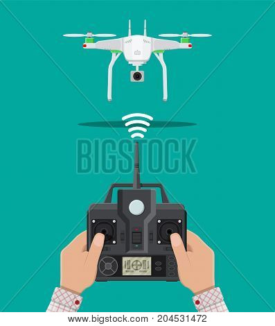 Remote controlled aerial drone. Quadcopter drone with camera for photography or video. Contemporary unmanned aircraft. Remote control panel with display and sticks. Vector illustration in flat style