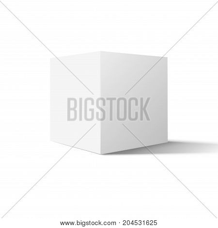 White box cube isolated on white background. Blank empty package 3d design. Cube or square product design object.