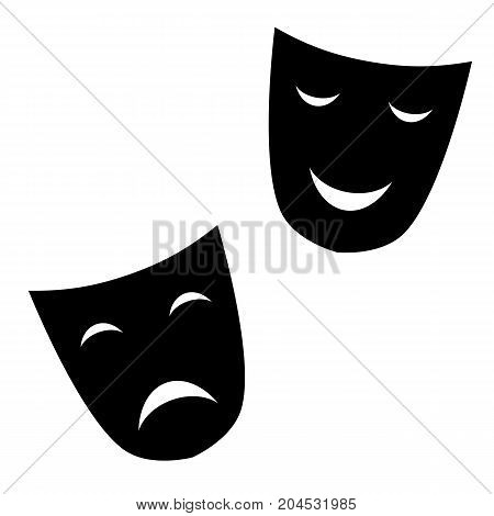 theatrical masks are black on white background vector illustration