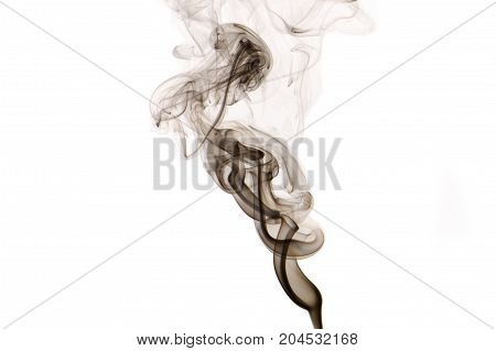 Black abstract smoke wave isolated on white background