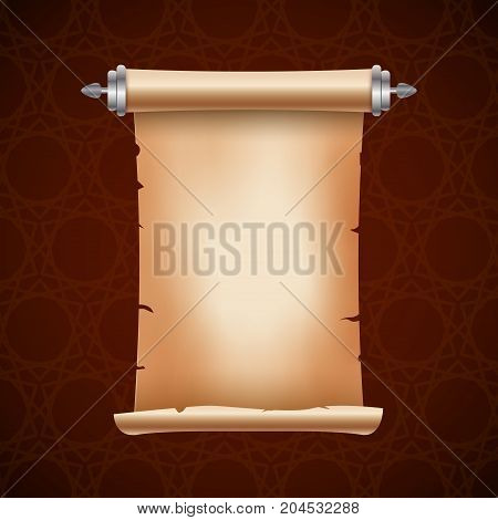 Old ancient scroll paper with place for text. Old document illustration. Papyrus parchament banner. Antique scroll.