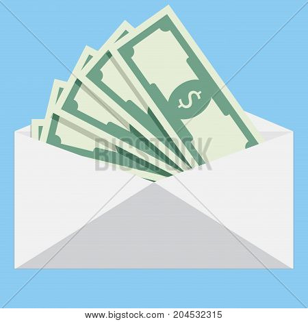Salary in envelope. Salary increase money payroll compensation income vector salary survey illustration