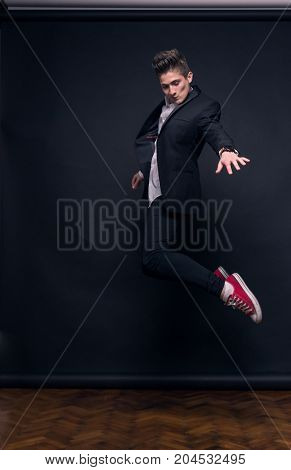 One Young Teenage Boy, Fancy Jumping In Air