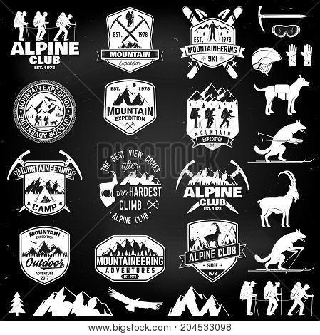Set of mountain expedition badges on the chalkboard. Vector. Concept for alpine club shirt or logo, print, stamp or tee. Design with mountaineers and mountain silhouette. Outdoors adventure emblems