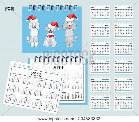 Set of kids american calendar for desk year 2018 with 12-month isolated pages with funny cartoon dogs on cover. Isolated calendar year 2019. Spanish language. Week starts on Sunday. eps 10