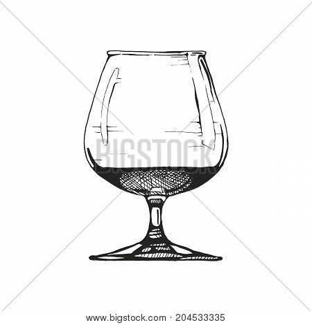 Snifter with Cognac. Vector illustration of balloon in ink hand drawn style. isolated on white.
