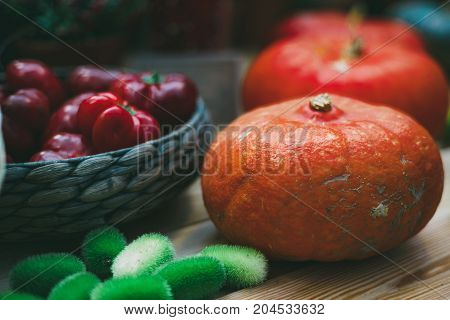 Colorful still-life for Thanksgiving day: wattled basket with sweet bell red pepper orange and red ripe pumpkins wild cucumber in foreground; everything is laying on wooden table