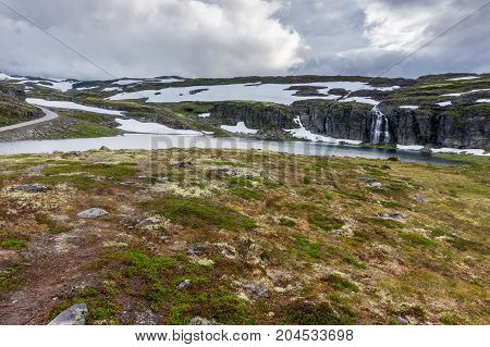 Mountain landscape along the National tourist route Aurlandstjellet. Flotane. Bjorgavegen. Western Norway