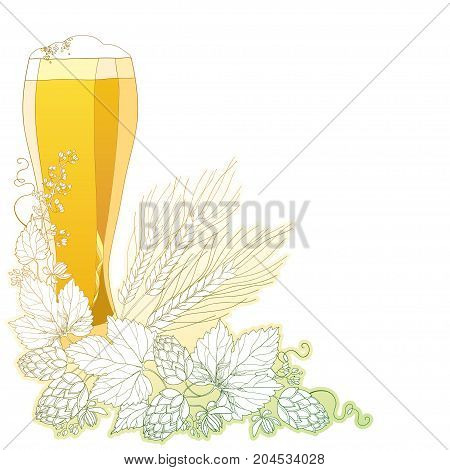 Vector glass of froth beer with ornate wreath of Hops and barley ears isolated on white. Contour hops, barley for Oktoberfest, brewery and beer decor. Beer elements in contour style for brewery design