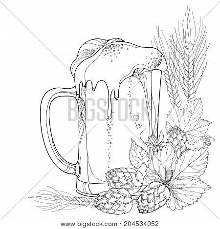 Vector beer mug with ornate Hops or Humulus and barley ears in black isolated on white. Outline element for Oktoberfest, brewery or beer design. Corner composition in contour style for coloring book.