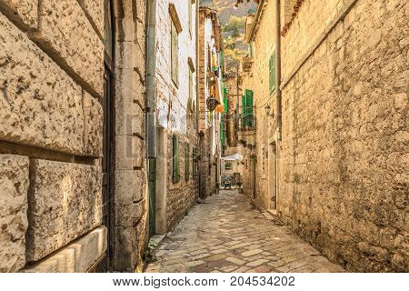 A street of the Old Town of Kotor. The old part of Kotor is a UNESCO World Heritage site and a famous tourist attraction.