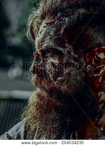 Halloween Man With Bloody Beard And Hair
