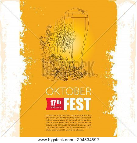 Oktoberfest poster with beer glass, Hops and barley on the grunge textured background. Outline hops and barley for beer festival Oktoberfest and brewery. Vector contour elements for brewery design.