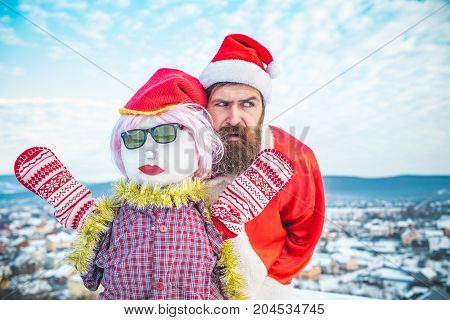 Santa Man With Scared Face