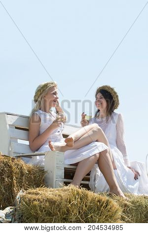 Girlfriends smiling on bench on blue sky. Women drinking alcohol on sunny day. Wine tasting concept. Summer vacation holidays and celebration. Happy girls with champagne glasses outdoors.