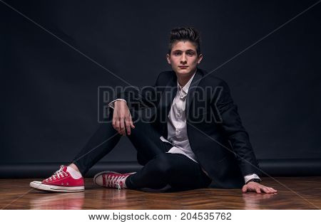 One Young Teenage Boy, Sitting Posing