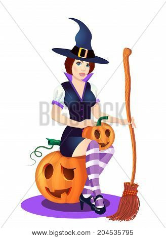 halloween pumpkin in the Black Witch Hat, vector illustration on white background
